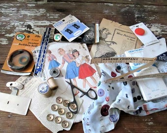 Sewing Inspiration Collection, Vintage Sewing Assemblage Art Materials, Collage Materials