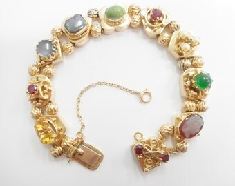 """Victorian Charm, Charm Bracelet, Vintage Bracelet, Vintage 14k Yellow Gold Victorian Slide Charm Bracelet With Charms 7"""" #2734"""