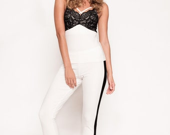 White and Black Pajama Pant Set- Caged Top with Tuxedo Pants