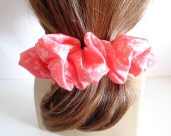 Red  white cotton   Scrunchies   chouchou ,  hair scrunchie, Hair Accessories  , Handmade by  ScrunchiesCo .