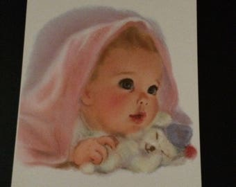 """NORTHERN TISSUE Babyl 11"""" x 14"""" 1950s Frances Hook Lithograph Print"""
