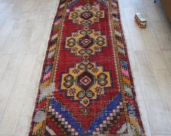 Turkish Rug Runner Free Shipping! 3.2 ft x 8.9 ft Decorative Handwoven Rug Turkish Vintage Antique Rug