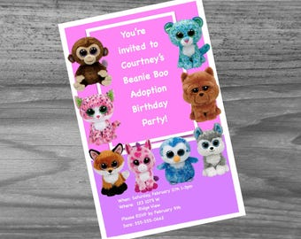 Beanie Boo Birthday Party Invites - custom made just for you with your child's name.