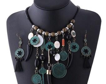 Women's Vintage Jewelry Set Bib Statement Choker Necklace Sweater Chain Earrings