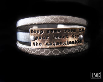 Light bronze Cuff Bracelet with gray plate