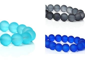 85 pearls, glass beads, jewelry beads, frosted, frosted, matt, 11 mm, round, turquoise, grey, blue