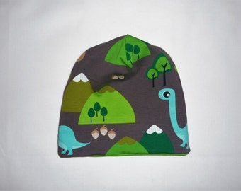 """Wendebeanie, """"Dino"""", hat, unisex Beanie for kids, Cap to the contact, green"""