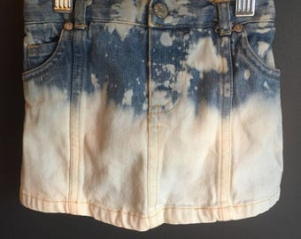 size 6-9 months, bleached distressed ombre effect, recycled denim skort