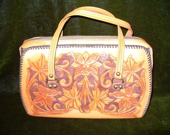 Vintage Hand Tooled Leather Rope Stitch Western Purse