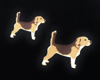 Beagle fabric - dog fabric - foxhound fabric - black cotton dog fabric