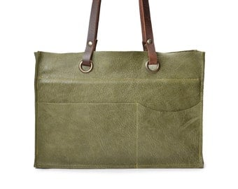 Handmade Leather green shoulder bag