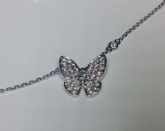 "Estate 18K White Gold 16"" Long 0.72 CTW Diamond Butterfly Necklace 5.3 Grams"