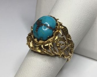 Estate 14K Yellow Gold Natural Turquoise Solitaire Ring 6 Grams Size 7
