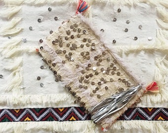 Vintage Sparkling Clutch, Bohemian Bag, One-of-a-Kind, Moroccan Clutch, Wedding Blanket inspiration, US free Shipping