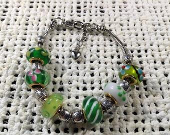 Green glass bead silver bracelet