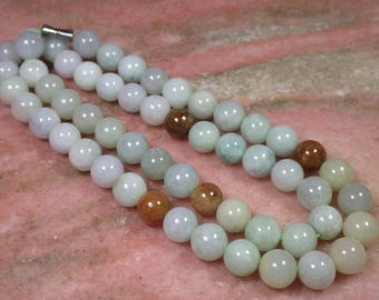 Jadeite Jade Grade A Certified Necklace 14mm Beads