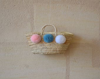 Small basket style Wicker with PomPoms lights original