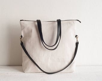 Off-White Canvas and Leather Backpack Convertible, Canvas Tote with Pockets, Diaper Bag, Convertible Bag, Messenger Bag, Crossbody Bag, Tote