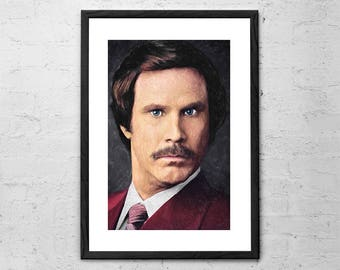 Ron Burgundy - Painting - Anchorman Print - Will Ferrel Art - Movie Art - Movie Poster - The Legend of Ron Burgundy - Comedy - Funny Art