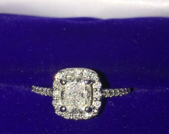 Ladies White Gold 14 Karat Cushion Cut Diamond Engagement Ring