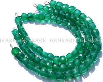 Green Onyx Faceted Box, 6.50 to 7 mm, Quality AAA, 18 cm, 28 pieces, GR-057/1, semiprecious gemstone beads, craft supplis for jewelry making