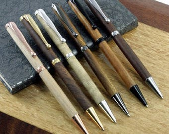 Slim-line wooden pens