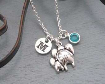 Mommy Baby Necklace, Personalized Elephant Necklace, Mommy Baby Elephant Necklace, Initial Necklace, New Mom Gift, New Mother Necklace, Cute