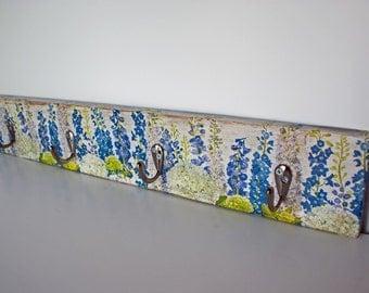 Decoupage Coat Hanger Rack, Shabby Chic, Blue & White, flowers, Rustic, Wood, Jewellery Hook, Scarf Hook