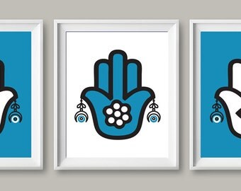 instant download kaf fatma kaf fatima hamsa evil eye blue eye,blue white, set of 3 wall art arabic modern art