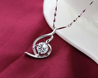 925 Sterling Silver Crystal Necklace Pendant
