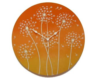 Dandelion Large Wall Clock Silent Wall Clock Orange Wall Clock Floral Wall Clock Office Clock Orange Dandelion Picture Wall Decor Woman Gift