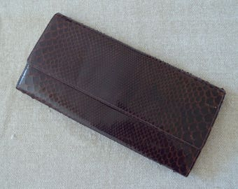 Brown snakeskin vintage 1960s clutch bag