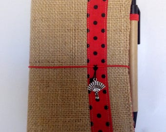 Small notebook cover. Hessian cloth