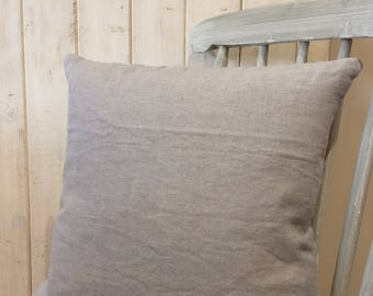 Pale blue linen cushion with blue ticking backing.