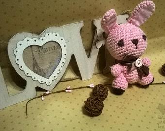 bunny rabbit. pink rabbit.knitting for kids.knitting toys. knitting rabbit. handmade toys.