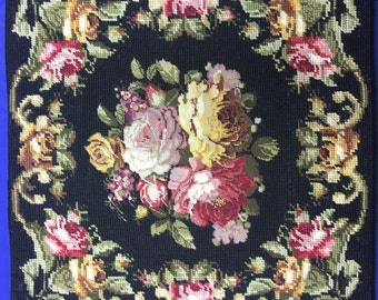 needlepoint pillow cover -- new victorian handstitched