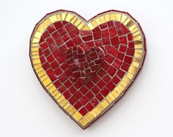 Red & Gold Heart Mosaic Wall Art Handmade Unique Gift