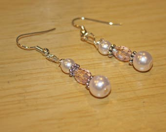 pink pearl and crystal silver earrings