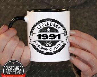 Legendary since 1991, 27th birthday 27th birthday gifts for women, 1991 birthday gift, 27th birthday mug for mens, 27th