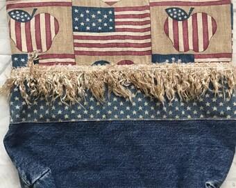 Americana jean denim fringe bag tote stripes USA apples teacher flag