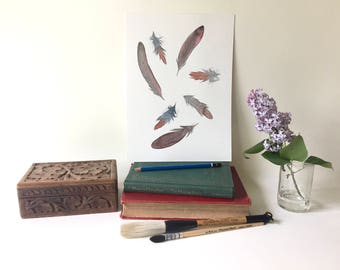 Robin Feathers, Original Watercolor Painting