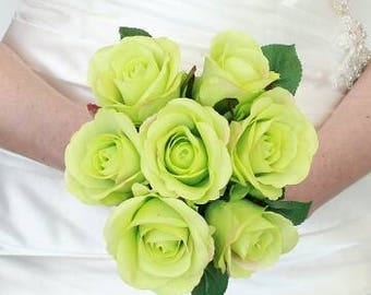 Lime wedding bouquet, green bridesmaids brides bouquet