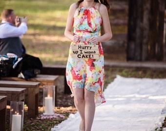 Hurry up I want cake ring bearer, flower girl, wedding sign, wedding signage