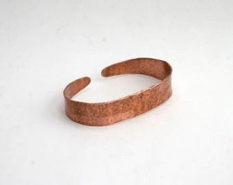 Thin Hand Hammered Copper Cuff Bracelet
