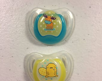 A Set of 2 Modified Nuby Reborn Pacifiers