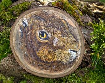 Hare painting, original painting, Painting on wood, animal art, British wildlife, wood slice. Animal lover gift, wildlife painting.