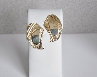 14K Yellow Gold Large Textured Earrings