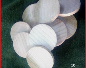 """10 Natural Unfinished HardWood 2"""" x """"1/4  Wood Circles Discs Wooden Crafts Game Spacers"""