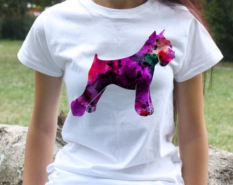 Schnauzer T-shirt - Dog Tee - Fashion women's apparel - Colorful printed tee - Gift Idea