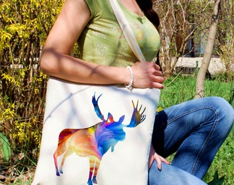 Moose tote bag -  Forest shoulder bag - Fashion canvas bag - Colorful printed market bag - Gift Idea